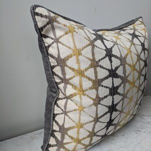 NEW Designer Pillow Cover Gray Yellow